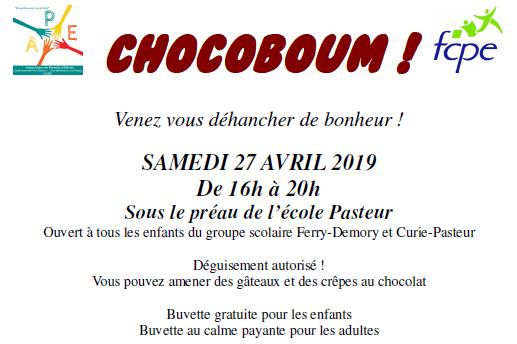 CHOCOBOUM – Samedi 27 Avril de 16h à 20h